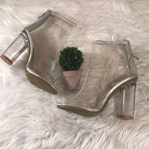 Forever 21 Size 7 1/2 Faux Glass Slipper Booties